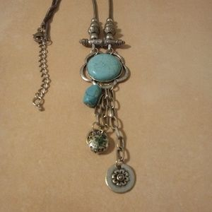 Jewelry - Boho Silver Tone Turquoise Charm Necklace